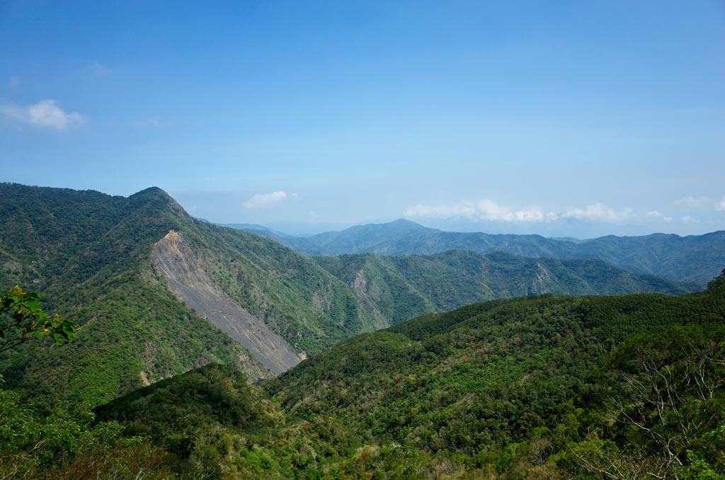 Typical Taiwan mountain scene with large landslide