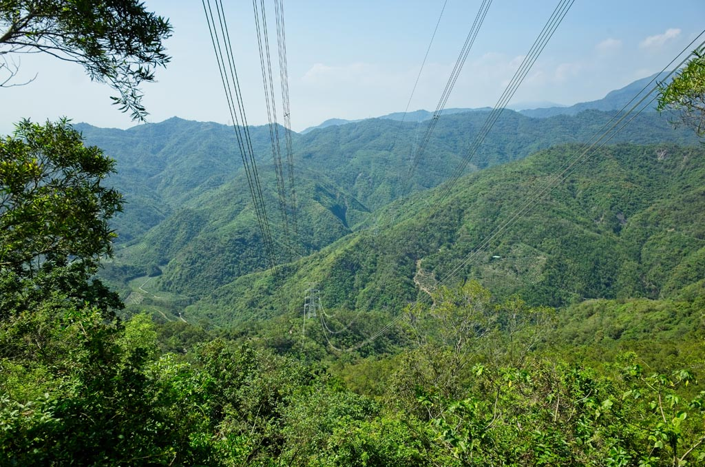 Mountain view with powerlines