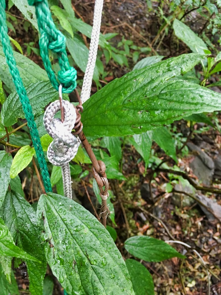 Rope tied to metal for snare trap