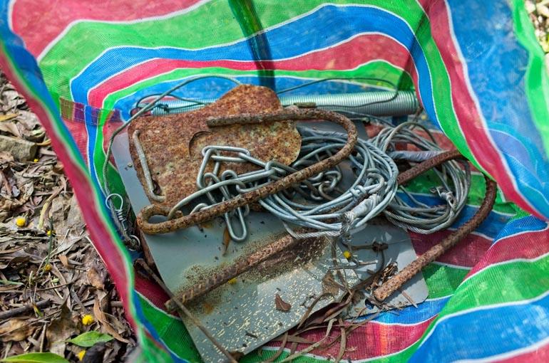Colorful bag of trap-making materials