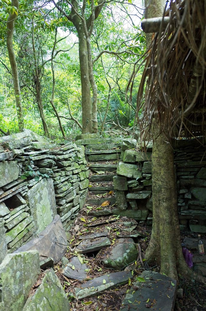 Stone foundation with stairs leading up