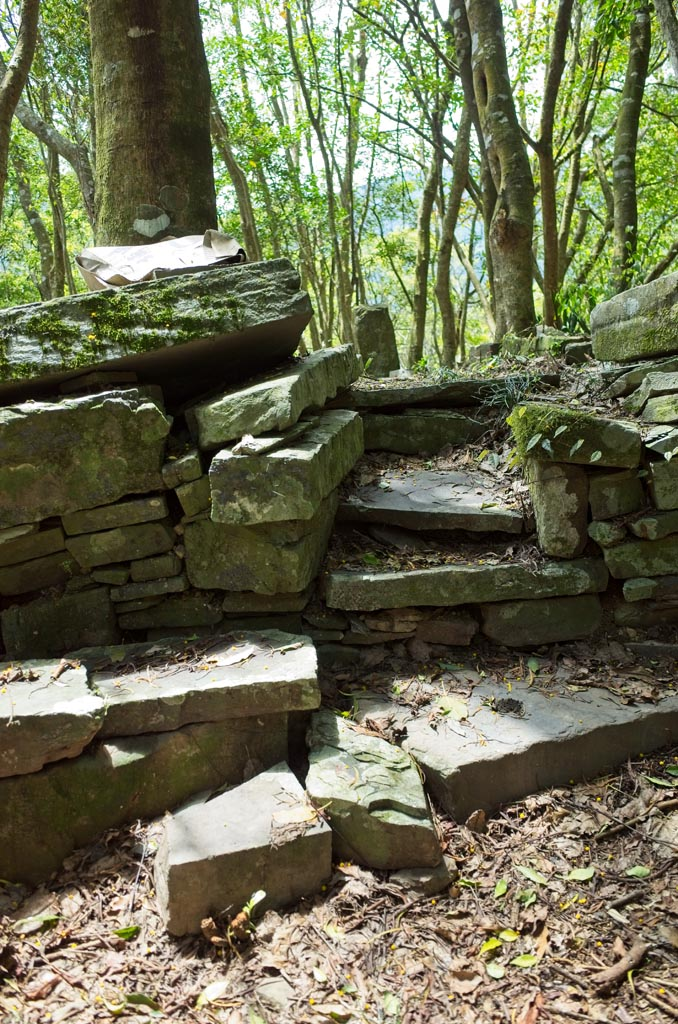 Stone foundation with jagged steps going up