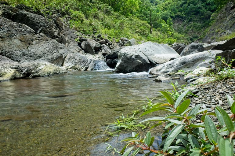 Rocky riverbed - shallow water spread out