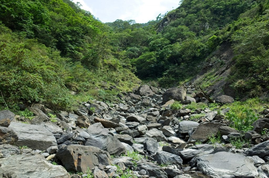 Rocky riverbed - mostly dry