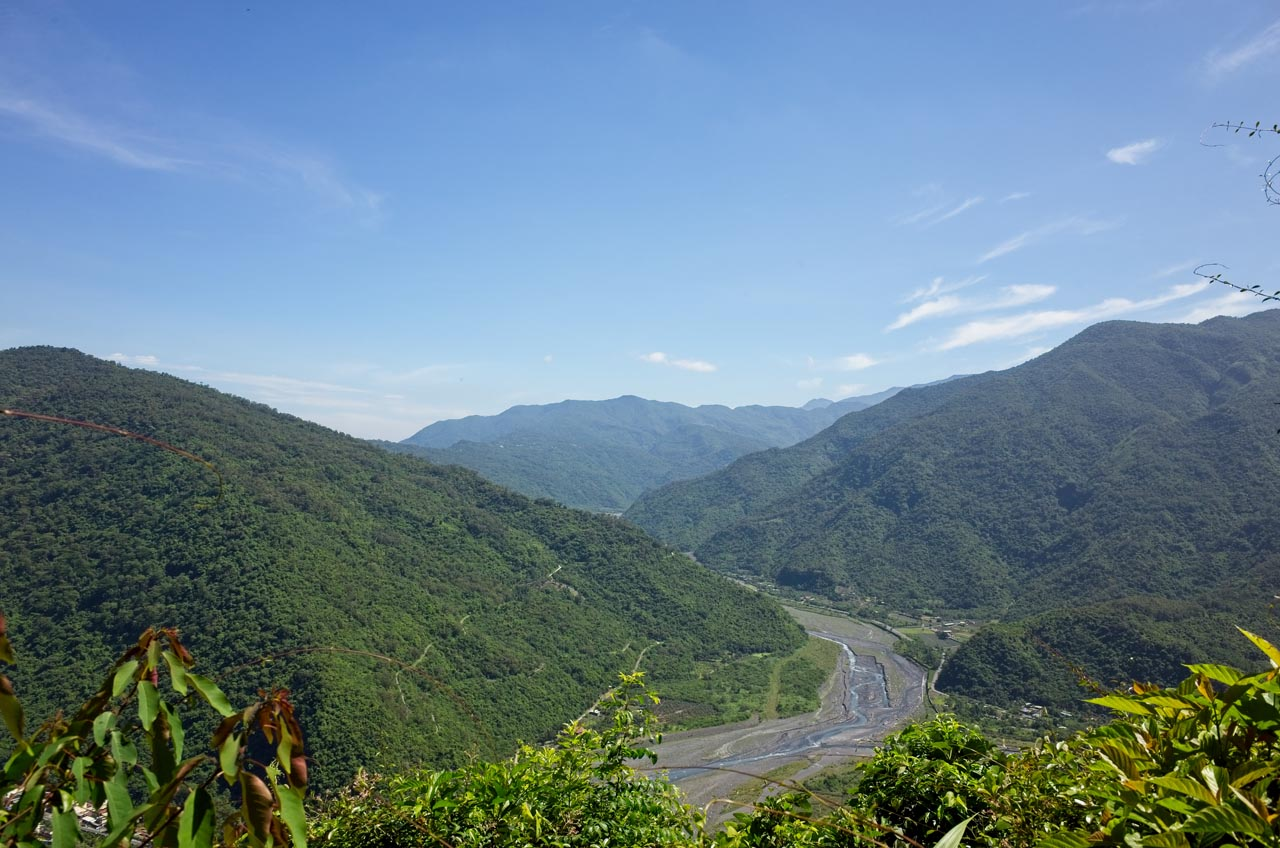 Mountains and river from above - Danling below