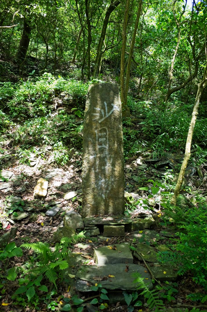 Large tall thin upright stone with writing on it
