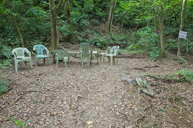 Open area - trees in background - many chairs and table
