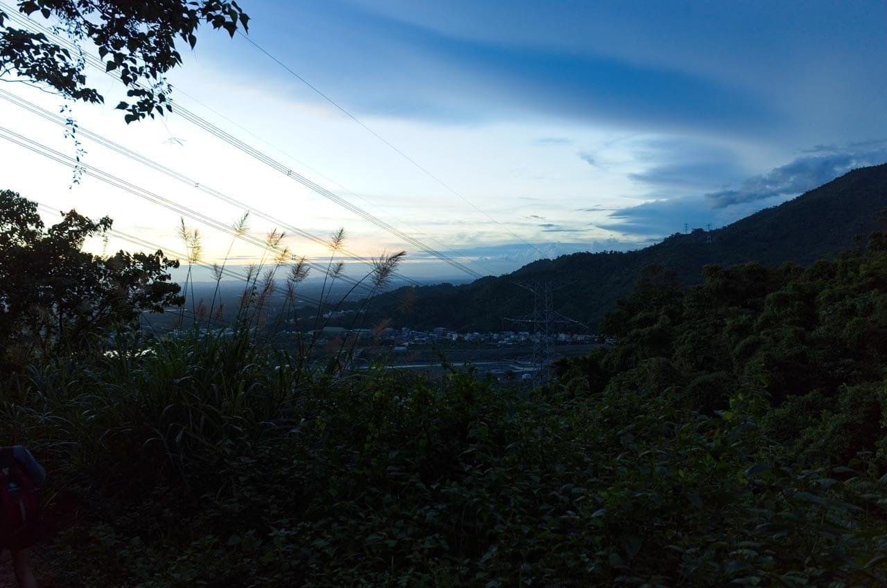 Near dark shot of Danlin village from above